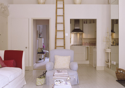 West London Victorian one-bedroomed flat conversion painted in off whites